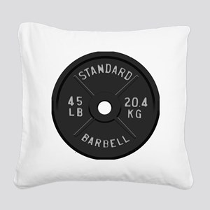 clock barbell45lb2 Square Canvas Pillow