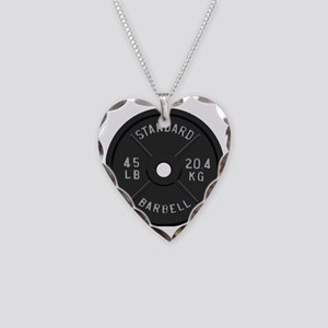 clock barbell45lb2 Necklace Heart Charm