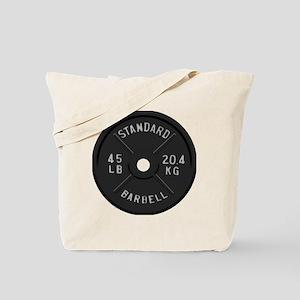 clock barbell45lb2 Tote Bag