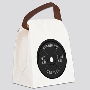 clock barbell45lb2 Canvas Lunch Bag