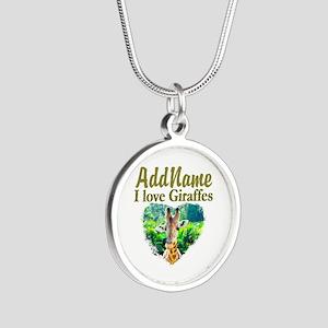 LOVE GIRAFFES Silver Round Necklace