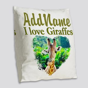 LOVE GIRAFFES Burlap Throw Pillow