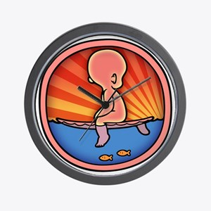 surf-womb-2-T Wall Clock
