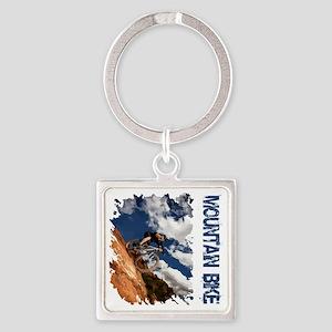 Mountain_Bike_Hill Square Keychain
