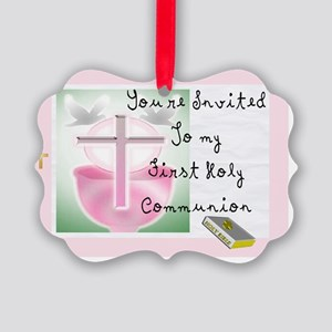 First Holy COmmunion PINK INVITE Picture Ornament