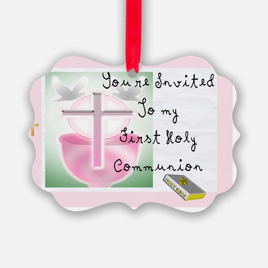 First Holy COmmunion PINK INVITE Ornament