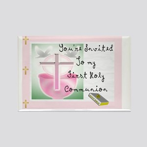First Holy COmmunion PINK INVITE Rectangle Magnet