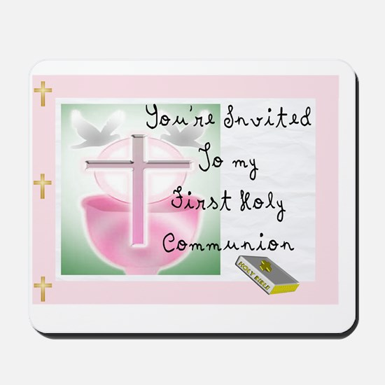 First Holy COmmunion PINK INVITE Mousepad