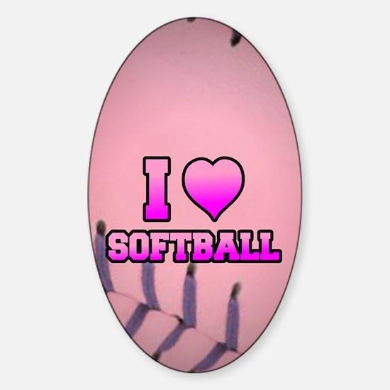 Pink I love softball Sticker (Oval)