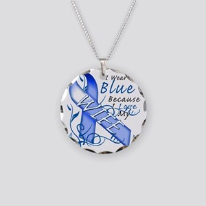 I Wear Blue Because I Love M Necklace Circle Charm