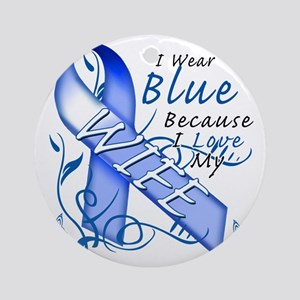 I Wear Blue Because I Love My Wife Round Ornament
