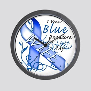 I Wear Blue Because I Love My Wife Wall Clock