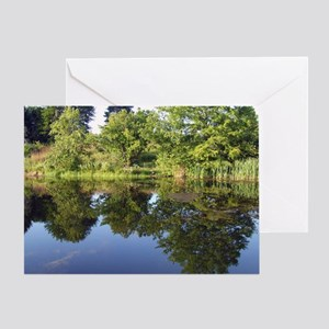Tree Reflections in farm pond near E Greeting Card