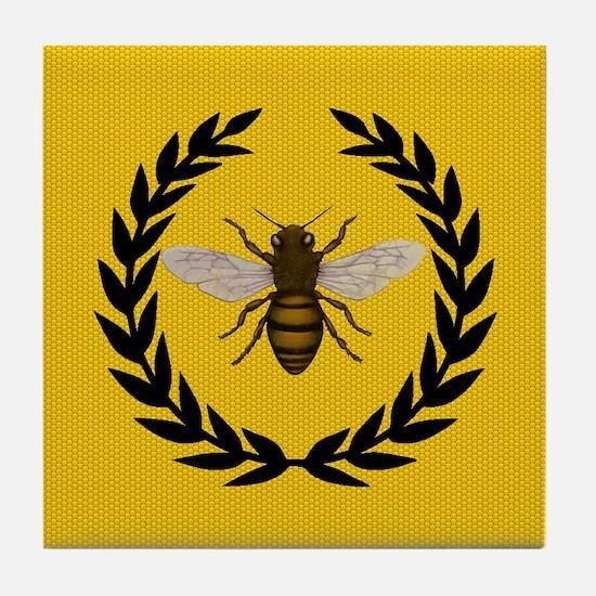 Stylized Bee_N_Honeycomb Tile Coaster