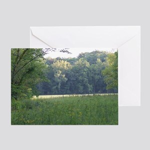 Field and Meadow surrounded by Fores Greeting Card