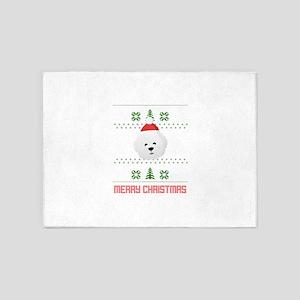 Bichon Frise Santa Snow Christmas T 5'x7'Area Rug