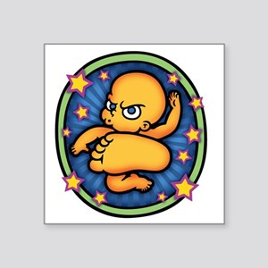 "baby-kick-3-T Square Sticker 3"" x 3"""
