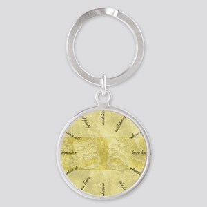 Theater-Mask-clockLARGEST Round Keychain