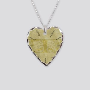 Theater-Mask-clockLARGEST Necklace Heart Charm