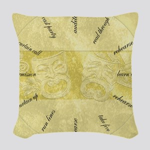 Theater-Mask-clockLARGEST Woven Throw Pillow