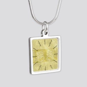 Theater-Mask-clockLARGEST Silver Square Necklace
