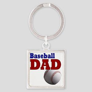 Baseball Dad Square Keychain