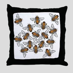Big Bee Swarm Throw Pillow