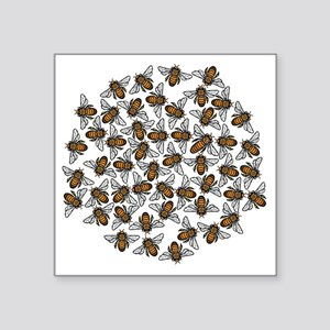 "Little Bee Swarm Square Sticker 3"" x 3"""