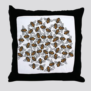 Little Bee Swarm Throw Pillow