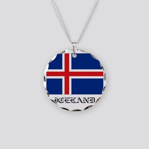 Iceland Necklace Circle Charm