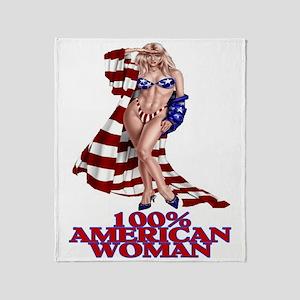 100% AMERICAN WOMAN Throw Blanket