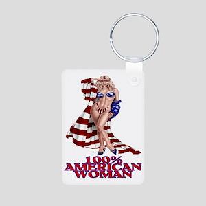 100% AMERICAN WOMAN Aluminum Photo Keychain