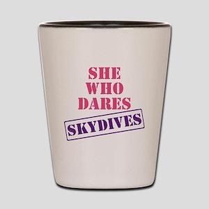 she_who_dares Shot Glass