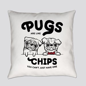 Pug Chips Everyday Pillow
