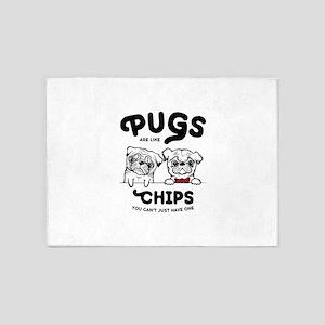 Pug Chips 5'x7'Area Rug