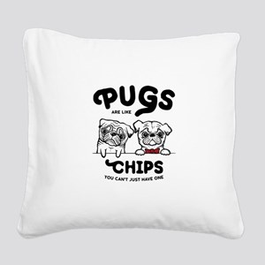 Pug Chips Square Canvas Pillow
