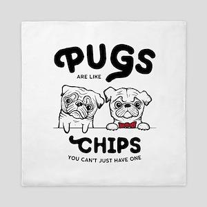 Pug Chips Queen Duvet