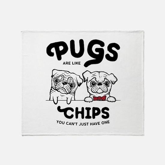 Pug Chips Throw Blanket