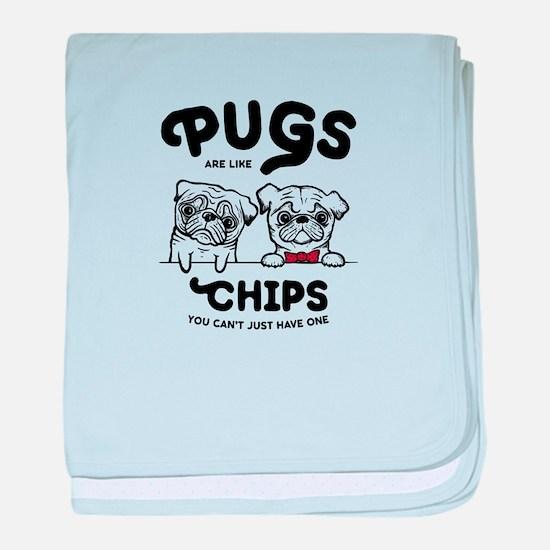 Pug Chips baby blanket