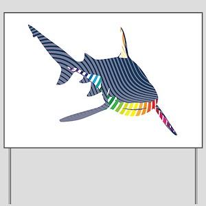 color swirl shark Yard Sign