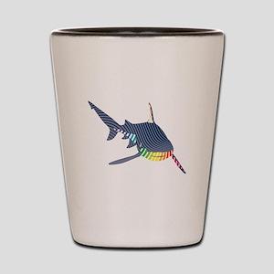 color swirl shark Shot Glass