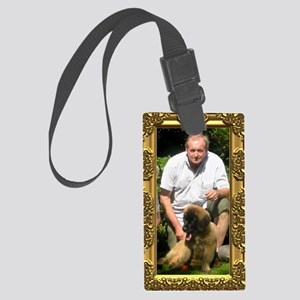 Custom gold baroque framed photo Large Luggage Tag