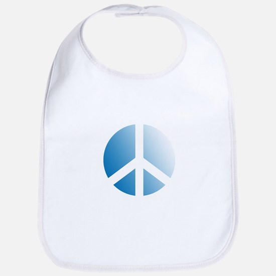 Pale Blue Stamped Peace Sign Bib