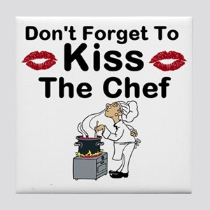 dont forget to kiss Tile Coaster