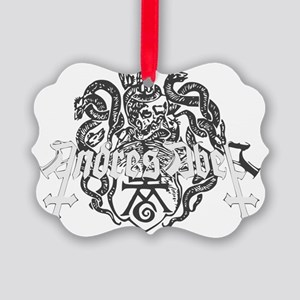 White Medievil Logo Picture Ornament