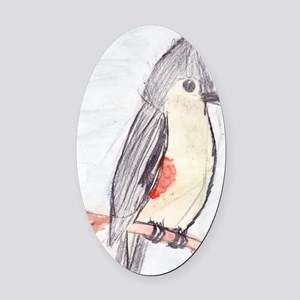 Tufted Titmouse Oval Car Magnet
