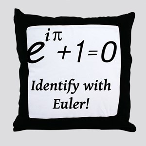 identifyWithEuler-blackLetters Throw Pillow