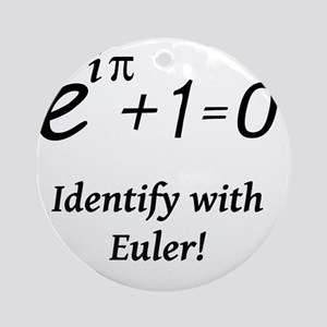 identifyWithEuler-blackLetters Round Ornament