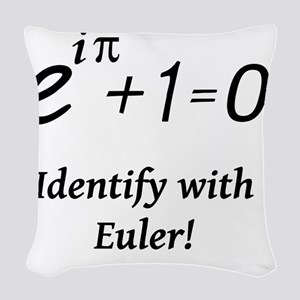 identifyWithEuler-blackLetters Woven Throw Pillow