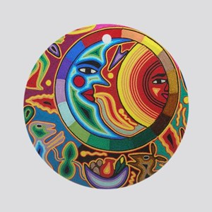 Mexican_String_Art_Image_Sun_Moon_S Round Ornament